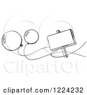 Clipart Of A Black And White Blank Sign And Party Balloons Royalty Free Vector Illustration