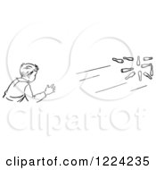 Clipart Of A Black And White Retro Boy Bowling Royalty Free Vector Illustration
