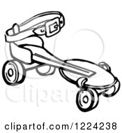Clipart Of A Black And White Retro Roller Skate Royalty Free Vector Illustration