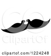 Clipart Of A Black And White Fake Mustache Royalty Free Vector Illustration