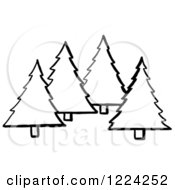 Clipart Of Black And White Evergreen Trees Royalty Free Vector Illustration