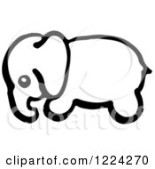 Clipart Of A Black And White Baby Elephant In Profile Royalty Free Vector Illustration