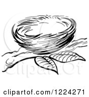Clipart Of A Black And White Bird Nest On A Branch Royalty Free Vector Illustration