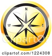 Clipart Of An Orange Compass Direction Icon Royalty Free Vector Illustration by Lal Perera