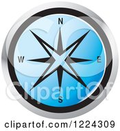 Clipart Of A Blue Compass Direction Icon Royalty Free Vector Illustration by Lal Perera