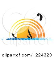 Clipart Of A Silhouetted Kite Surfer And Windsurfer Against A Sunset Royalty Free Vector Illustration by Lal Perera