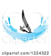 Clipart Of A Silhouetted Windsurfer And A Blue Splash Royalty Free Vector Illustration by Lal Perera