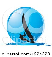 Clipart Of A Silhouetted Windsurfer Over A Blue Circle Royalty Free Vector Illustration by Lal Perera