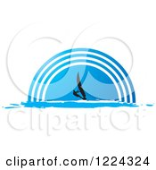 Clipart Of A Silhouetted Windsurfer Over A Blue Half Circle Royalty Free Vector Illustration by Lal Perera