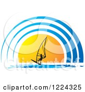 Clipart Of A Silhouetted Windsurfer Over A Blue And Orange Sun Royalty Free Vector Illustration by Lal Perera