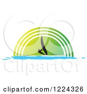Clipart Of A Silhouetted Windsurfer Over A Green Half Circle Royalty Free Vector Illustration by Lal Perera