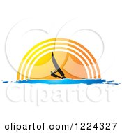 Clipart Of A Silhouetted Windsurfer Against A Sunset Royalty Free Vector Illustration by Lal Perera