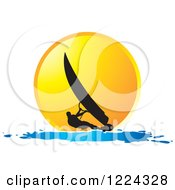 Clipart Of A Silhouetted Windsurfer Against An Orange Sunset Royalty Free Vector Illustration by Lal Perera