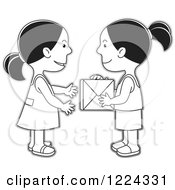 Clipart Of Grayscale Girls Exchanging A Gift Box Royalty Free Vector Illustration