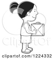 Clipart Of A Grayscale Girl Holding A Box Royalty Free Vector Illustration