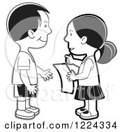 Clipart Of A Grayscale Boy And Girl Discussing A Letter Royalty Free Vector Illustration
