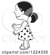 Clipart Of A Grayscale Girl In A Polka Dot Dress Facing Left Royalty Free Vector Illustration