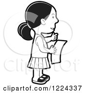 Clipart Of A Black And White Girl Reading A Letter Royalty Free Vector Illustration