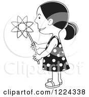 Clipart Of A Black And White Girl Holding A Flower Royalty Free Vector Illustration