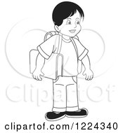 Clipart Of A Black And White School Boy Royalty Free Vector Illustration
