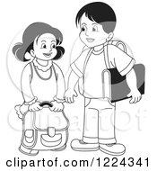 Clipart Of A Black And White School Boy And Girl Royalty Free Vector Illustration by Lal Perera