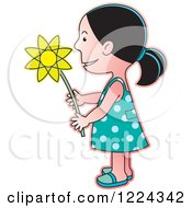 Clipart Of A Girl Holding A Flower Royalty Free Vector Illustration