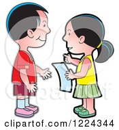 Clipart Of A Boy And Girl Discussing A Letter Royalty Free Vector Illustration