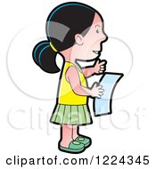 Clipart Of A Girl Reading A Letter Royalty Free Vector Illustration