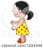Clipart Of A Girl In A Polka Dot Dress Facing Left Royalty Free Vector Illustration
