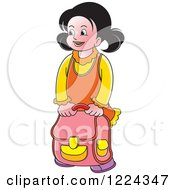 Clipart Of A School Girl With A Backpack Royalty Free Vector Illustration by Lal Perera