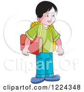 Clipart Of A School Boy Royalty Free Vector Illustration