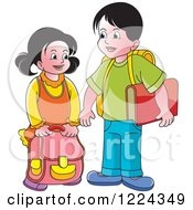 Clipart Of A School Boy And Girl Royalty Free Vector Illustration