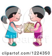 Clipart Of Girls Exchanging A Gift Box Royalty Free Vector Illustration