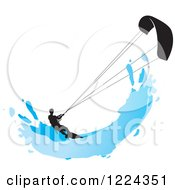 Clipart Of A Silhouetted Kite Surfer With A Blue Splash Royalty Free Vector Illustration by Lal Perera
