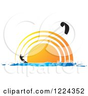 Clipart Of A Silhouetted Kite Surfer Against A Sunset Royalty Free Vector Illustration