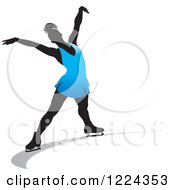 Clipart Of A Female Figure Ice Skater In Blue Royalty Free Vector Illustration