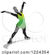 Clipart Of A Female Figure Ice Skater In Green Royalty Free Vector Illustration