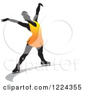 Clipart Of A Female Figure Ice Skater In Orange Royalty Free Vector Illustration