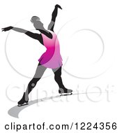 Clipart Of A Female Figure Ice Skater In Purple Royalty Free Vector Illustration
