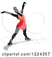 Clipart Of A Female Figure Ice Skater In Red Royalty Free Vector Illustration by Lal Perera