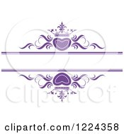 Clipart Of Purple Crowned Hearts And Swirls With Copyspace Royalty Free Vector Illustration