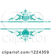 Clipart Of Turquoise Crowned Hearts And Swirls With Copyspace Royalty Free Vector Illustration