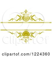 Clipart Of Gold Crowned Hearts And Swirls With Copyspace Royalty Free Vector Illustration