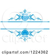 Clipart Of Blue Crowned Hearts And Swirls With Copyspace Royalty Free Vector Illustration