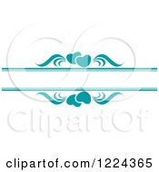 Clipart Of Teal Hearts And Swirls With Copyspace Royalty Free Vector Illustration