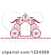 Maroon Ornate Wedding Carriage And Crown Frame