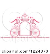 Pink Ornate Wedding Carriage And Crown Frame