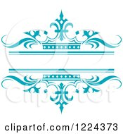 Clipart Of A Turquoise Crown And Wave Wedding Frame Royalty Free Vector Illustration