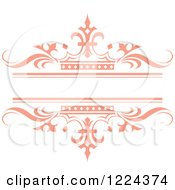Clipart Of A Pastel Pink Crown And Wave Wedding Frame Royalty Free Vector Illustration