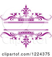 Clipart Of A Purple Crown And Wave Wedding Frame Royalty Free Vector Illustration